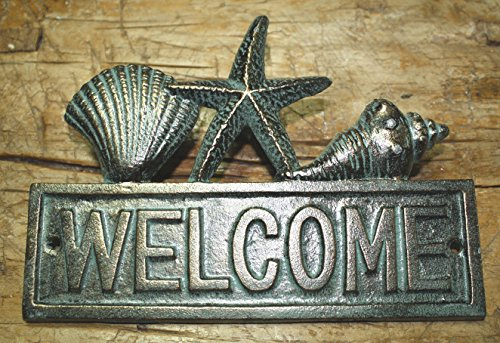 Mason Dining Bench (Cast Iron Seashell Welcome Plaque Sign Nautical Wall Pool Home Decor Starfish)