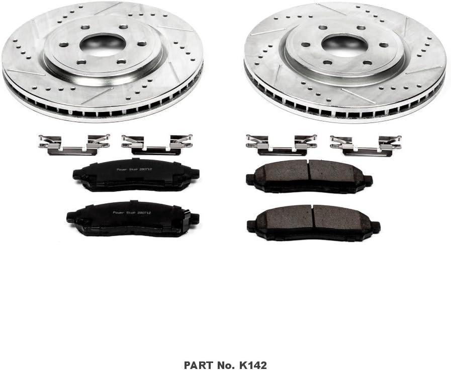 Power Stop K6341 Front Brake Kit with Drilled//Slotted Brake Rotors and Z23 Evolution Ceramic Brake Pads