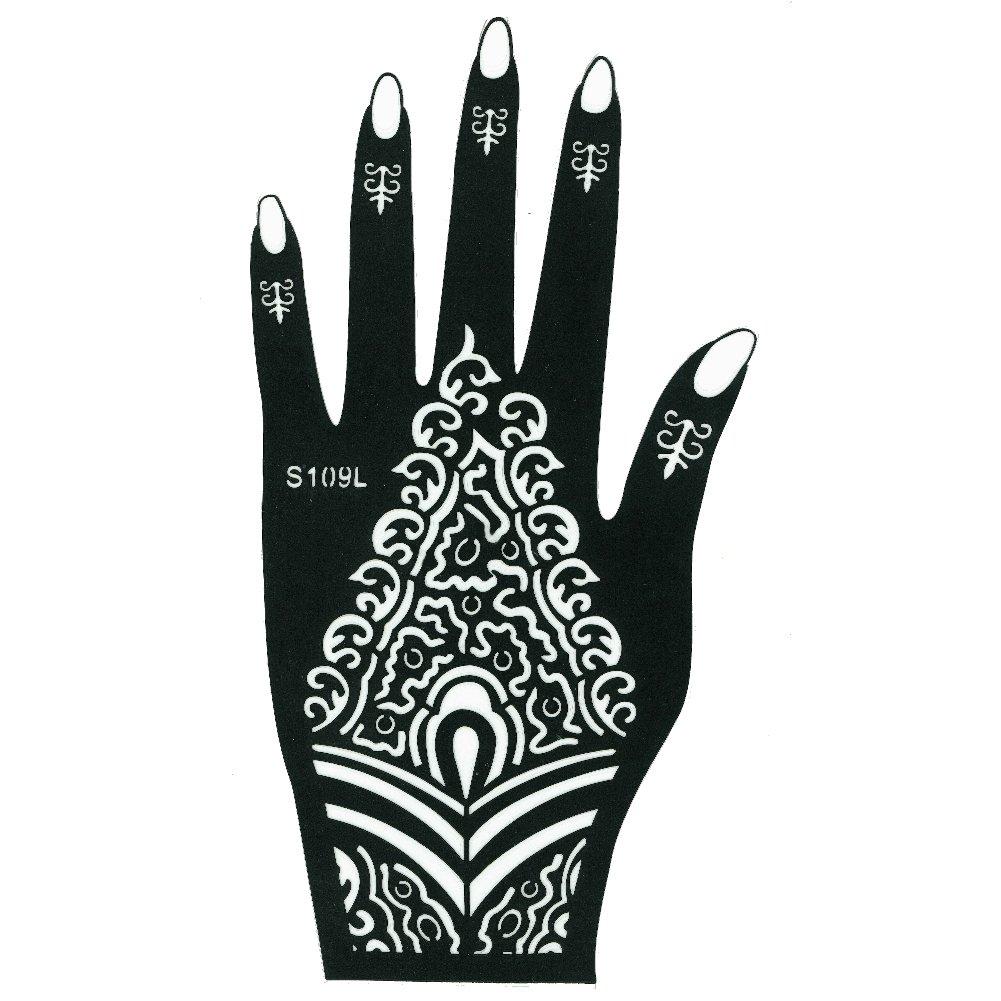 JUSTFOX - Henna Tattoo Schablone für die Linke Hand