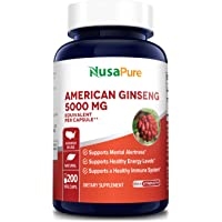 American Ginseng 5000 mg - 200 Veggie Capsules (Vegan, Non-GMO & Gluten-Free) - Supports Focus, Energy & Healthy…