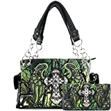 Justin West Camouflage Tree Branches Bling Rhinestone Cross Wings Handbag Purse Messenger Bags and Wallets (Cross Green Handbag and Wallet)