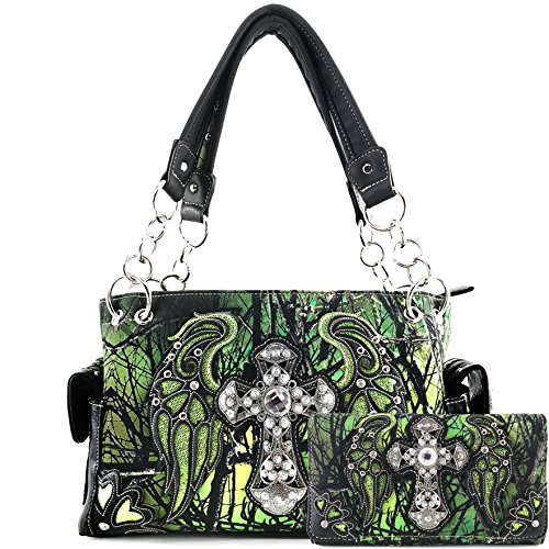 Justin West Camouflage Tree Branches Bling Rhinestone Cross Wings Handbag Purse Messenger Bags and Wallets (Cross Green Handbag and (Studded Cross Messenger)