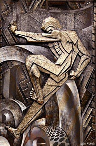 Posterazzi Big Wheel Turning-Art Deco Poster Print by Robert Michaels, (8 x 10)