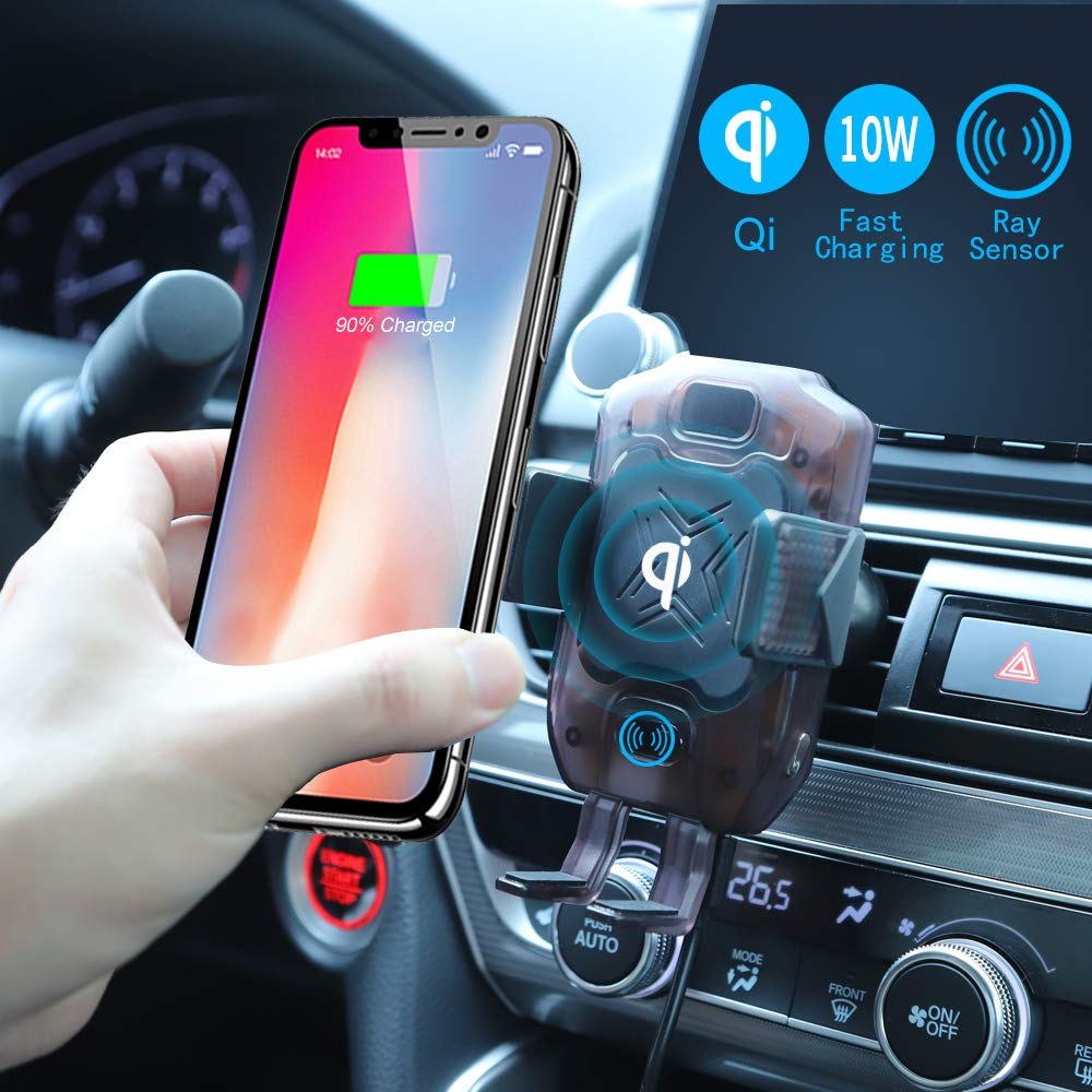 ETERMING Wireless Charger Car Mount Auto Clamping 10w/7.5w Power Fast Car Charger Holder Qi Phone Holder for Car Air Vent Compatible with iPhone Xs Max X XR 8 Plus Samsung S10 S9 S8 Note 9, etc