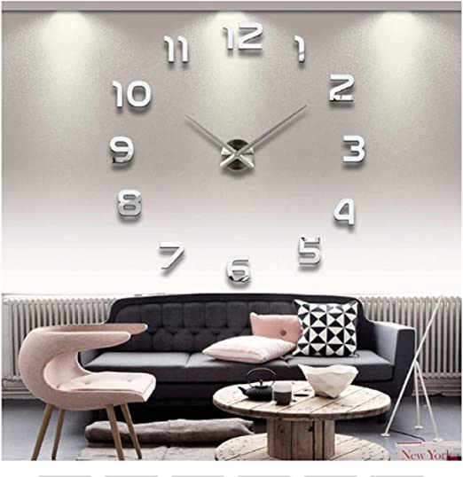Amazon.com: New Clock Watch Wall Clocks Horloge 3D DIY Acrylic Mirror Stickers Home Decoration Living Room Quartz Needle (Silver, 47inch): Home & Kitchen