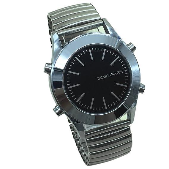 Reloj Parlante en Español para Invidentes o Personas Mayores Negro Dial, Banda Expandible: Amazon.es: Relojes