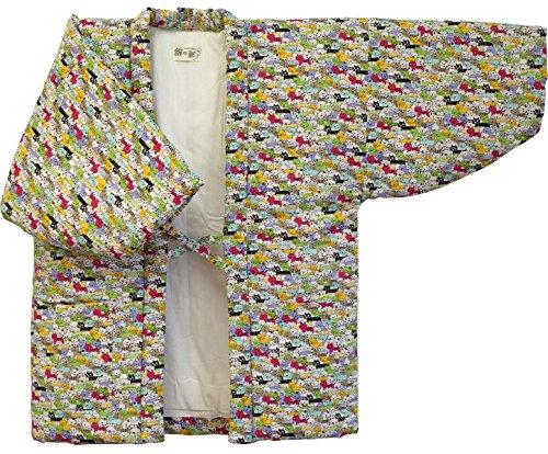 Cat Print Hanten (Cotton Jacket Made in Japan Kimono-style) Japanese Clothes Size Ladies (Medium, 1)
