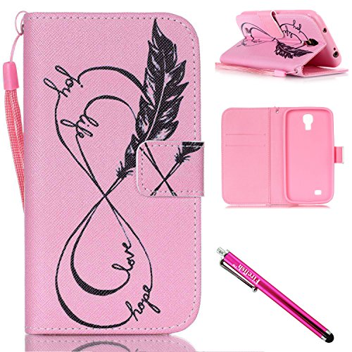 - Galaxy S4 mini Case, Firefish Kickstand Flip [Card Slots] Wallet Cover Double Layer Bumper Shell with Magnetic Closure Strap Case for Samsung Galaxy S4 mini i9600/9192/9195-Feather