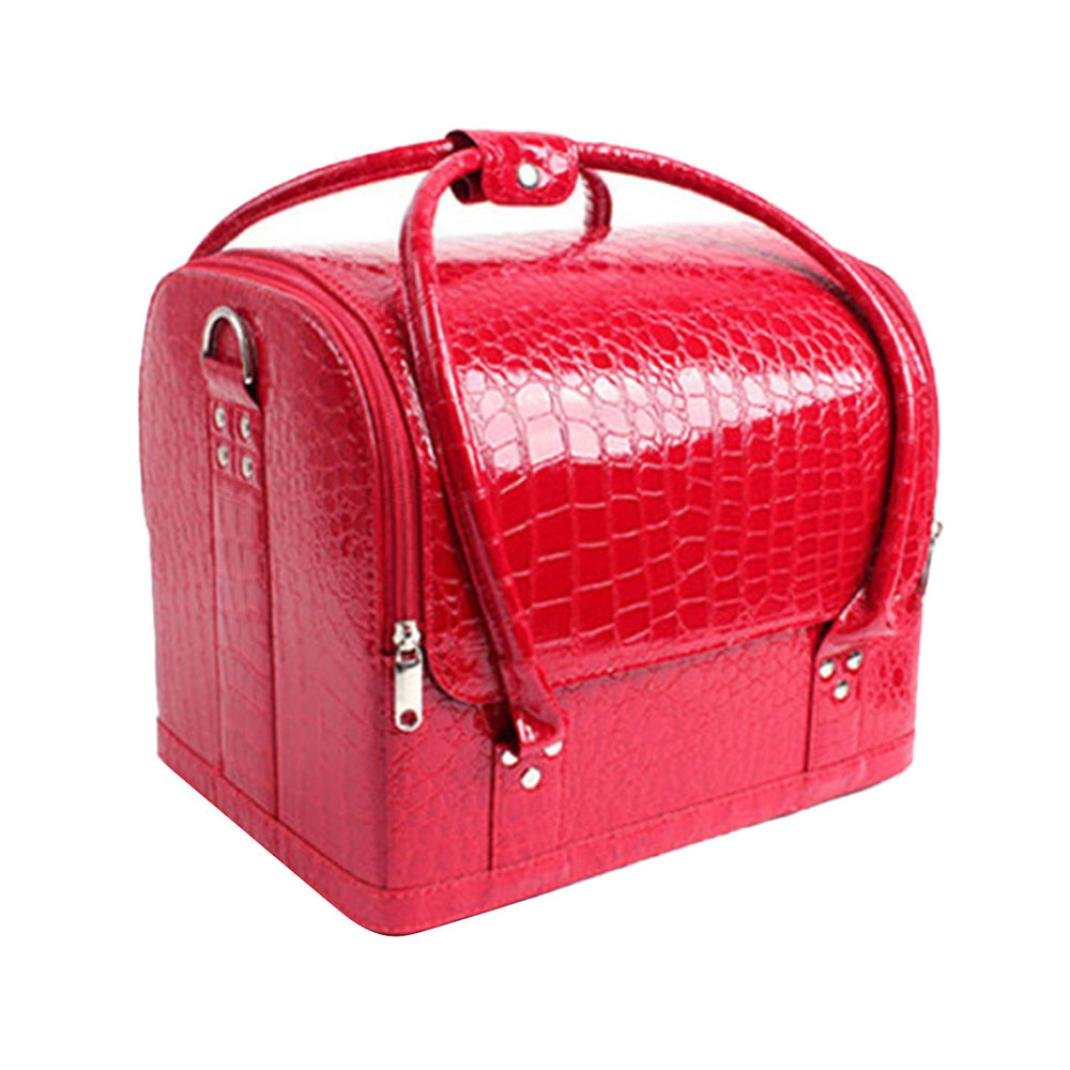 DEESEE(TM) Professional Make-up Fashionista Portable Crocodile Pattern Cosmetics Cases (Red)