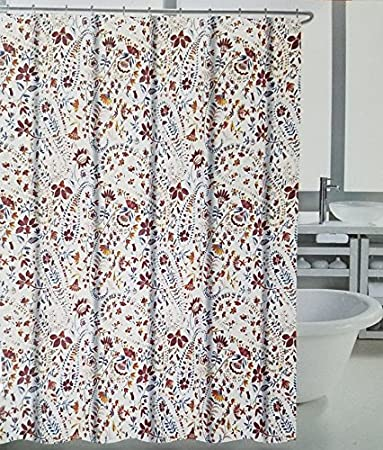 tahari luxury shower curtain willa paisley pattern with blue orange red pink - Luxury Shower Curtains
