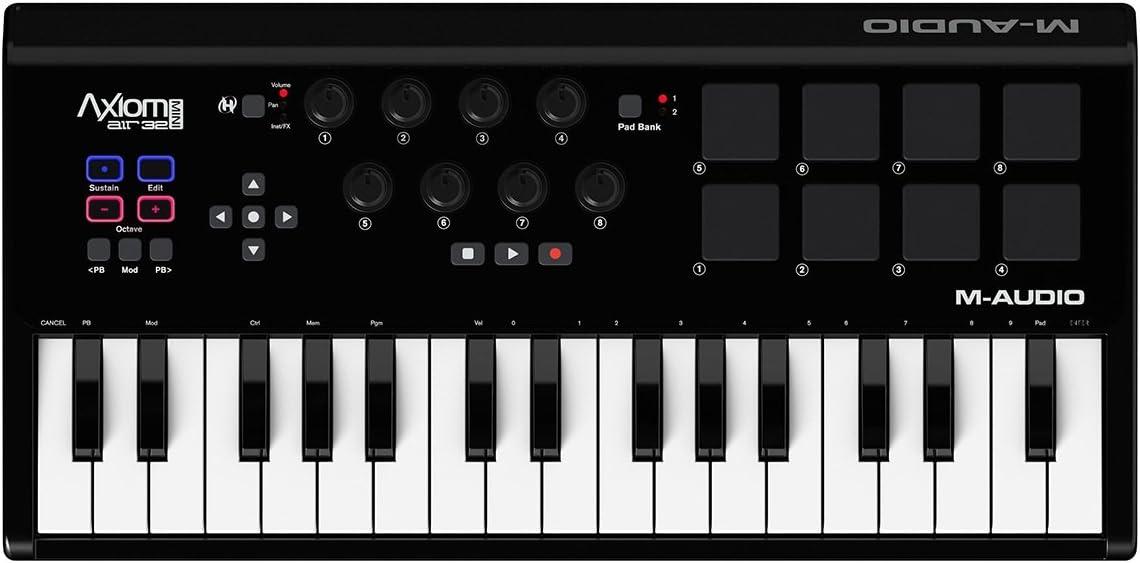 M-Audio Axiom AIR Mini 32 - Teclado controlador MIDI USB de 32 teclas sensibles a la velocidad, 8 pads + ProTools   First M-Audio Edition, Eleven ...