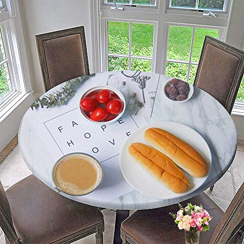 Mikihome The Round Table Cloth Fresh Breakfast in Literature and Art for Birthday Party, Graduation Party 31.5
