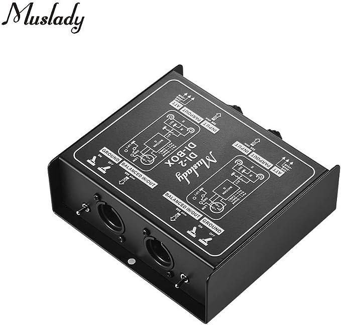 Muslady Dual-Channel Pasivo DI-Box Caja de Audio de Inyección ...