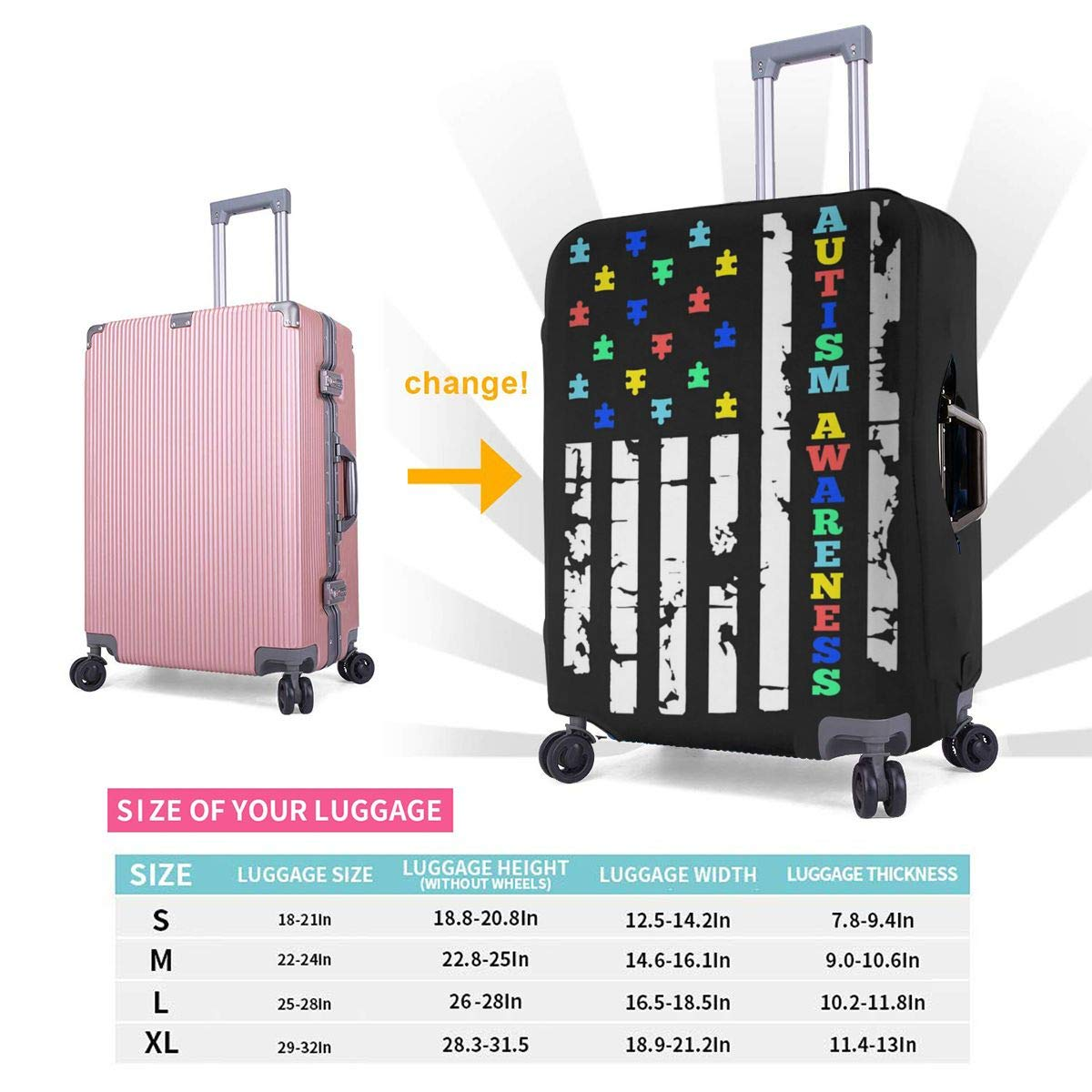 Autism Awareness Flag Travel Luggage Cover Suitcase Protector Washable Zipper Baggage Cover