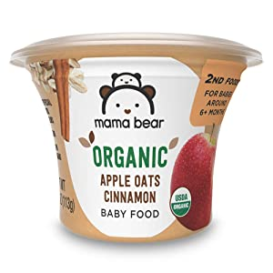 Amazon Brand - Mama Bear Organic Baby Food, Apple Oats Cinnamon, 4 Ounce Tub, Pack of 12