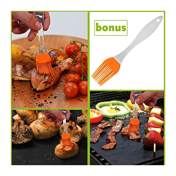 """CHERAINTI Grill Mat Oven Liner 70""""x16"""" Non-Stick Reusable Barbecue BBQ Mat, Cut to Any Size, for Gas Grill, Charcoal, Electric Grill, Electric Oven, Heat Resistant 8 SMOOTH 100% NON-STICK, EASY TO CLEAN: Thanks to the non-stick teflon material. You can simply rinse with warm water to rid all leftover foods, spills or dried on liquids. You can wipe over with a damp cloth and lay flat on the top rack of your dishwasher for easy cleaning. You will be happy to know that your grill mat 