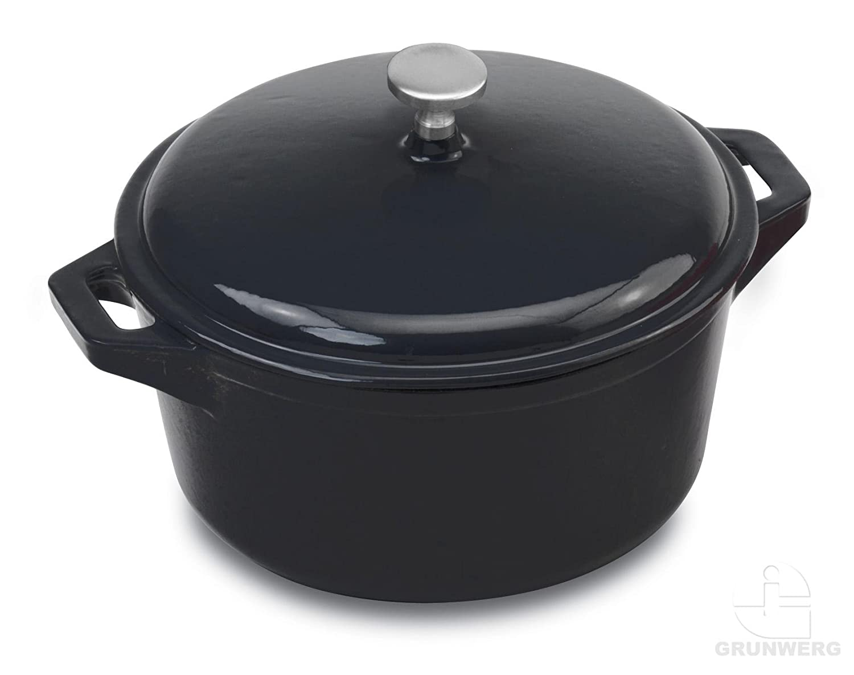 Provencale Professional Cast Iron Round Casserole Dish & Cover Lid, Black, 23cm diameter, 3L Grunwerg RC-123BK