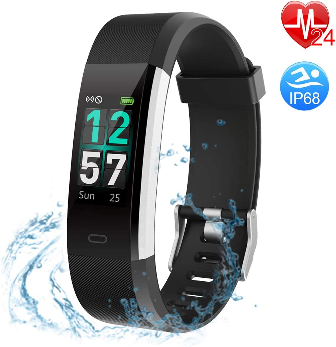 Fitness Tracker COLOR Screen, Heart Rate Monitor Activity Tracker IP68 Waterproof for Kids Men Women Smart Band for Heart Rate Pedometer Watch Calorie Counter Call Remind, Goal Setting, with Veryfitpr