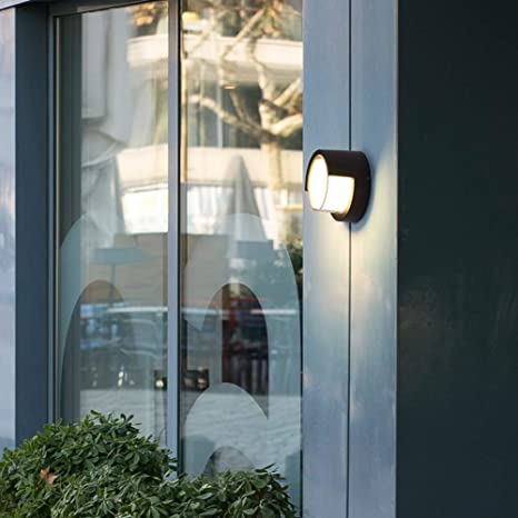 Indoor Outdoor IP65 Wall Lamp Black Round Sconce Bulkhead Corded Ceiling Light