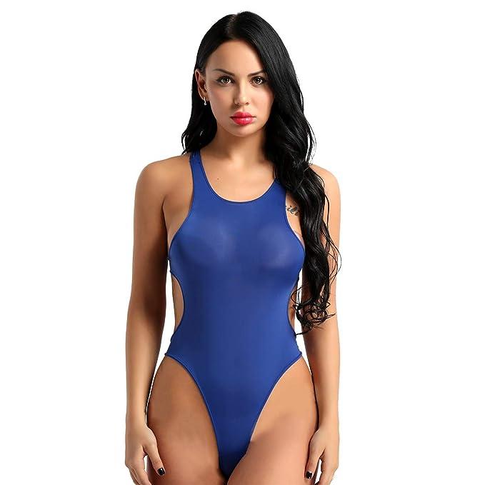YiZYiF Damen Schwimmanzug Wetlook Lackleder Bodysuit Push Up Badeanzug R/ückenfrei Bademode Monokini