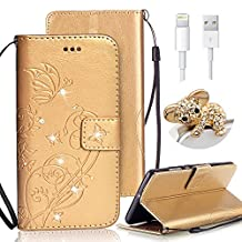 iPhone 6S Plus Wallet Case,Vandot Luxury Diamond Sparkle Crystal Rhinestone Flower Butterfly Pattern PU Leather Magnetic Flip Cover Card Holders & Hand Strap for iPhone 6S Plus/6 Plus 5.5 inch+Bling Anti Dust Plug+USB Data Charging Cable-Gold