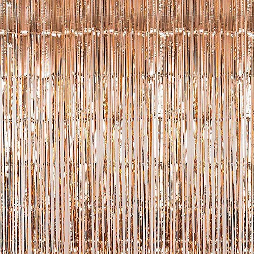 YOHO BUY Foil Fringe Curtains Photo Backdrop,Shiny Metallic Tinsel Party Door Curtain Photo Booth Props for Birthday Wedding Bridal Baby Shower Party Decorations (Champagne)