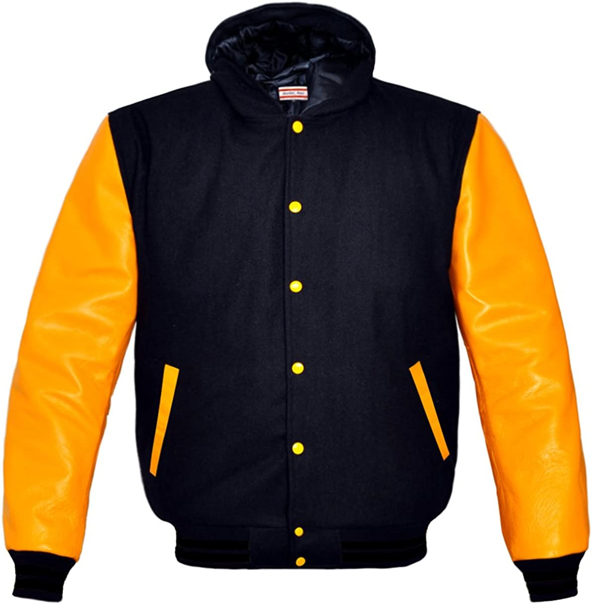luvsecretlingerie Superb Genuine Yellow Leather Sleeve Letterman College Varsity Kid Wool Jackets
