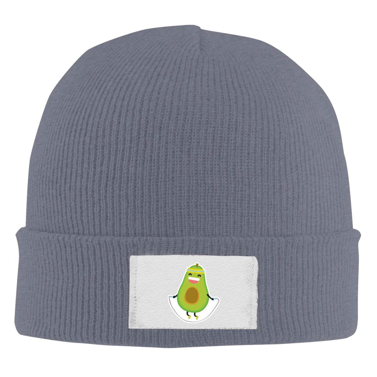 Dunpaiaa Skull Caps Avocado Jumping Rope Winter Warm Knit Hats Stretchy Cuff Beanie Hat Black