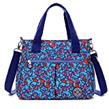 Tiny Chou Water Resistant Nylon Tote Handbag Crossbody Messenger Bag with Detachable Shoulder Strap