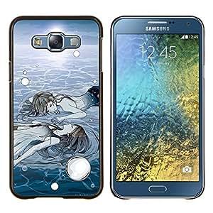 Hielo Profundo Sol Invierno Pintura Significado- Metal de aluminio y de plástico duro Caja del teléfono - Negro - Samsung Galaxy E7 / SM-E700