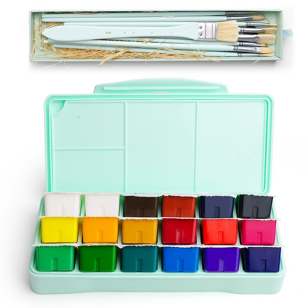 MIYA Gouache Paint Kit, 18 Colors x 30ml Paint Set & 10 Pieces Hog Bristle Paint Brushes, Unique Jelly Cup Design with Portable Case Gouache, Perfect for Oil, Acrylic Painting & More (Mint Green) by MIYA
