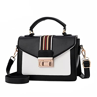 Image Unavailable. Image not available for. Color  HFmorning Women s Small  Shoulder Bag PU Leather Totes Color Stripe Deco Crossbody Bag Fashion  Handbags 16f5793872b11