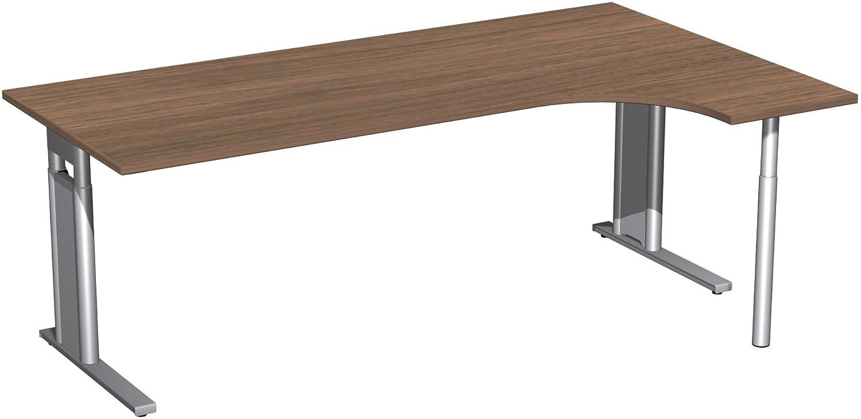 Geramöbel PC-Schreibtisch rechts höhenverstellbar, C Fuß Blende optional, 2000x1200x680-820, Nussbaum/Silber