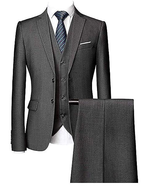 Amazon.com: P.L.X - Conjunto de traje de boda para hombre, 3 ...