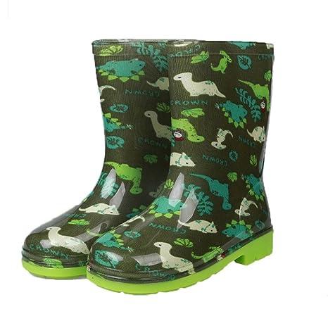 ebe0aeb72 Botas de Lluvia para Niños Niños Chicas Zapatos Impermeables Antideslizante  Patrón de Colores