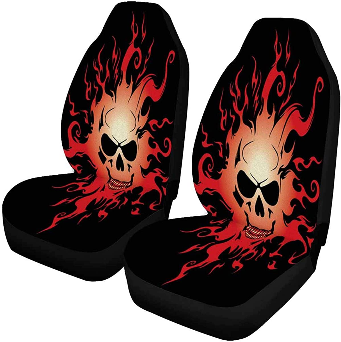 INTERESTPRINT Burning Skull Front Car Seat Covers Set of 2, Entire Seat Protection, Car Front Seat Cushion for Pets Running Gym