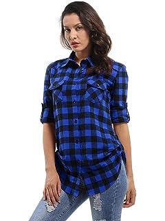 Phorecys Camisa de cuadros para mujer, blusa a cuadros de manga enrollable, camisa de franela con botones: Amazon.es: Ropa y accesorios