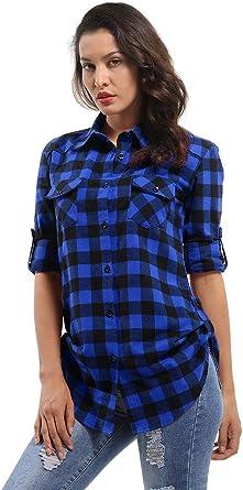 Phorecys Camisa a cuadros para mujer, blusa a cuadros, manga enrollable, camisa de franela con botones