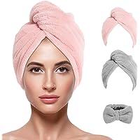 ni/ños y ni/ñas rosa adultos Toallas de secado de pelo de microfibra gorro de secado r/ápido gorro muy suave y absorbente pa/ños de ba/ño bonitos gorro de ba/ño para mujeres