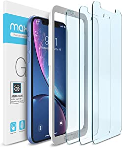 "Maxboost (3 Pack) Screen Protector with Anti-Blue Compatible Apple iPhone 11 and iPhone XR (6.1"") [Blue light Filtering + Eye Protection Tempered Glass] Advance HD Clarity Work with Most"