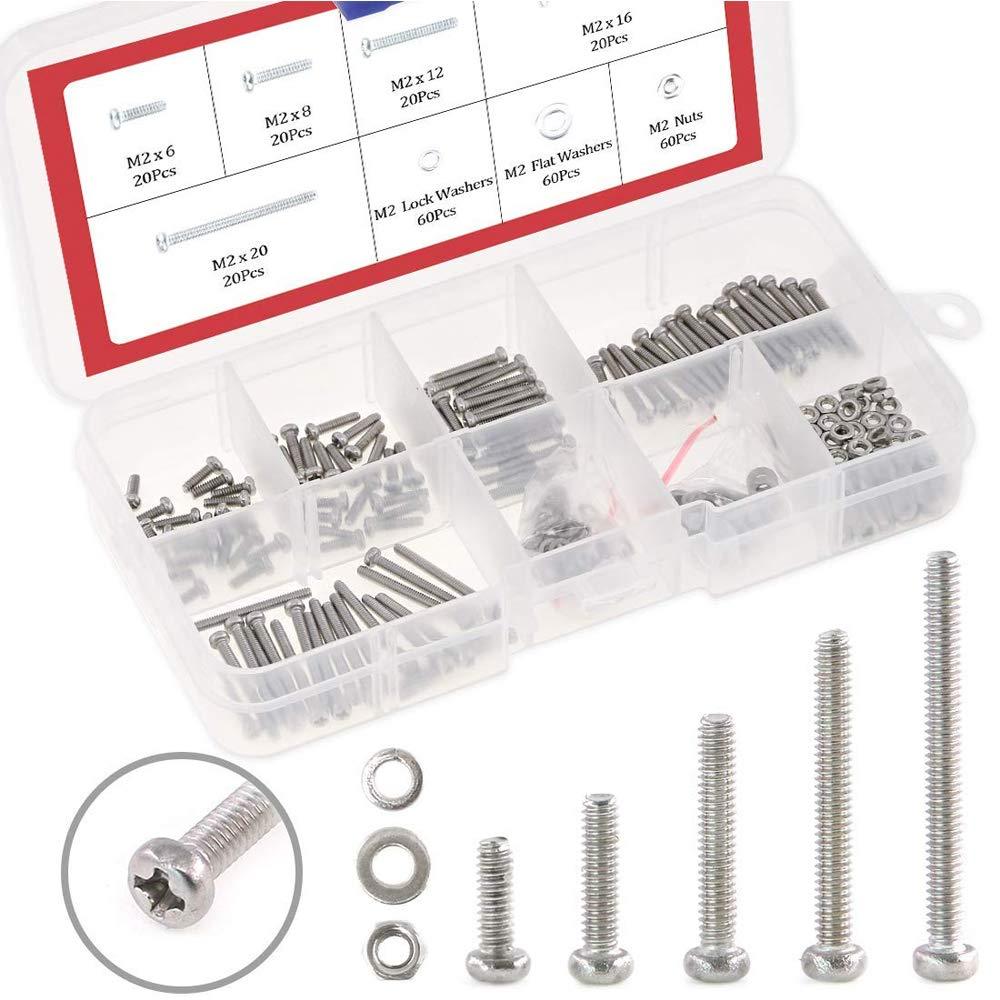 Hilitchi 300-Piece M2 Phillips Pan Head Screws Bolt Nut Lock Flat Washers Assortment Kit, 304 Stainless Steel