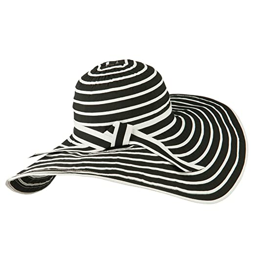 cbc2345830e4d UPF 40+ Striped Floppy Wide Brim Sun Hat - Black White OSFM at Amazon  Women s Clothing store