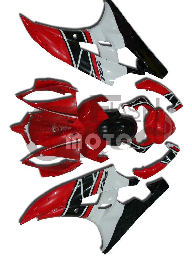 FlashMoto yamaha ヤマハ YZF-600 R6 2006 2007用フェアリング 塗装済 オートバイ用射出成型ABS樹脂ボディワークのフェアリングキットセット (レッド,ホワイト)   B07LF1VXZF