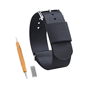 RANDON Premium Watch Bands Ballistic Nylon NATO Watch Strap Stainless Steel Buckle Choice of Color & Width(20mm, 22mm, 24mm)