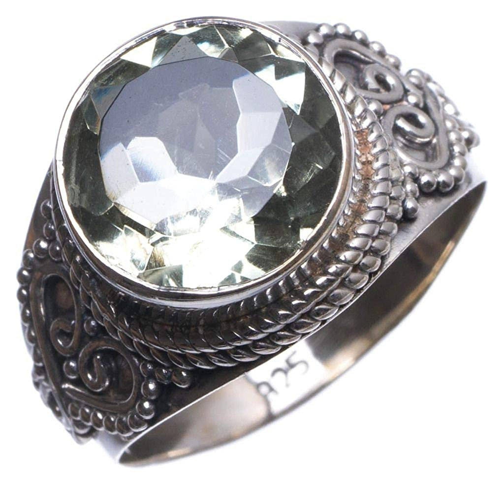 US Size 8 T6301 Natural Green Amethyst Handmade Mexican 925 Sterling Silver Ring