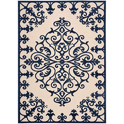 Rug Squared Kona Indoor/Outdoor Area Rug (KON12), 9-Feet 6-Inches by 13-Feet, Navy For Sale