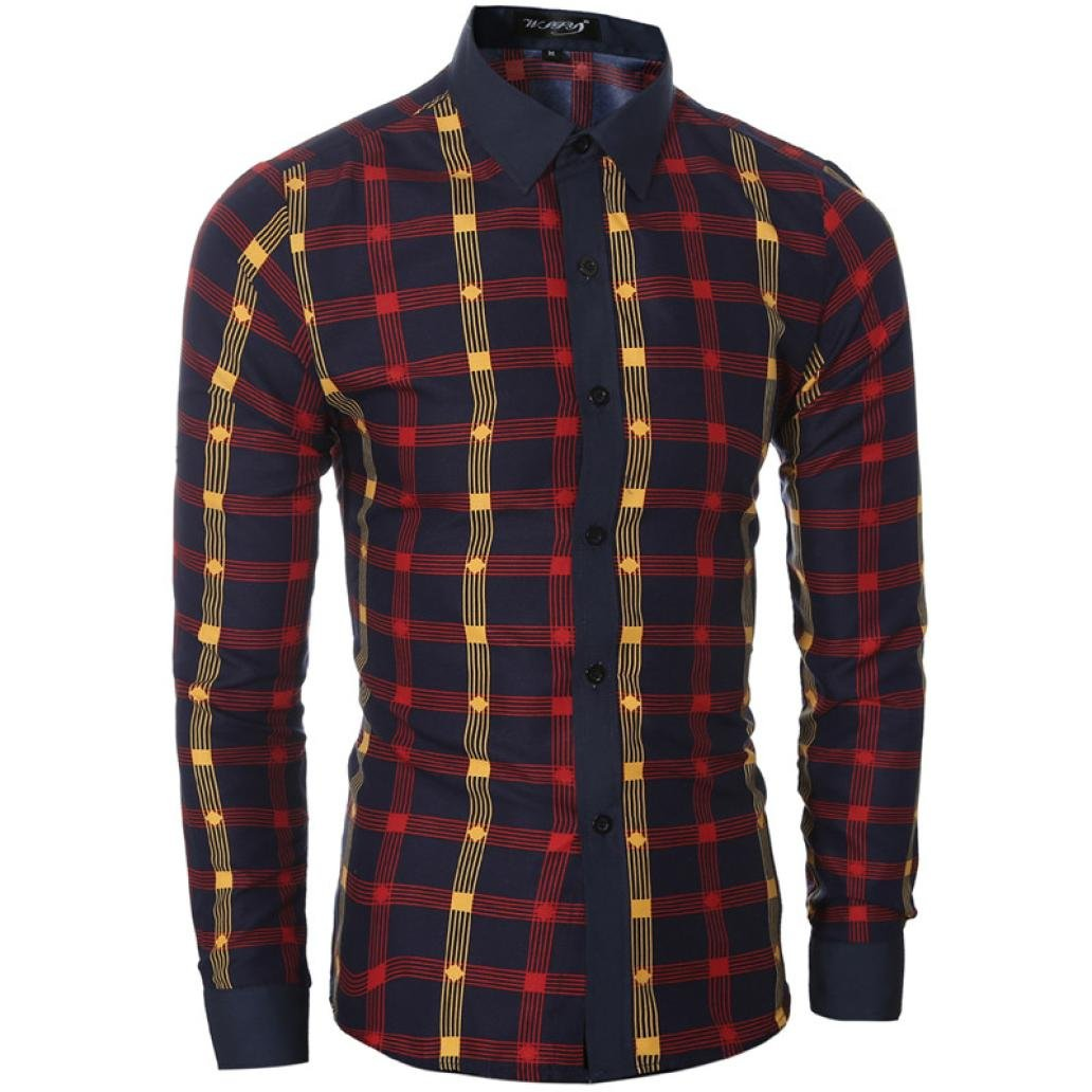 Zulmaliu Autumn Shirts for Men, Classic Long Sleeve Plaid Dress Shirt (M, Red) by Zulmaliu