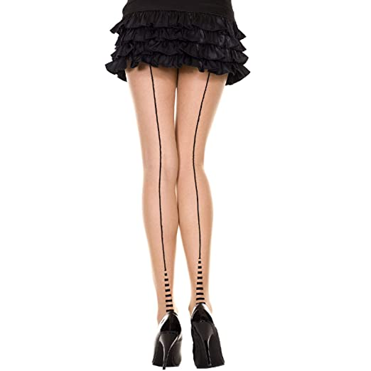 8b05d24e280 Amazon.com  MUSIC LEGS Women s Backseam and Striped Cuban Heel Spandex  Pantyhose