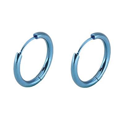 83fb6e90cd81 KNSAM - Hombres Mujeres Aretes de aro Pendientes de Aro de Acero Inoxidable  1 par Perforado Pendiente Azul 18MM   Joyería de Moda    Amazon.es  Joyería