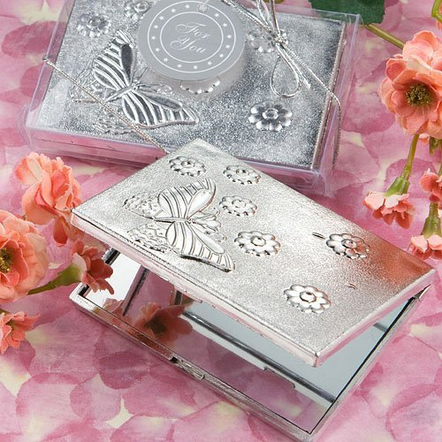 Elegant Reflections Collection butterfly design mirror compact favors [SET OF (Silver Plated Compact Mirror)